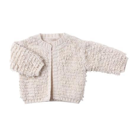 KIDS Tane Organics Baby Crochet Looped Cardigan Sweater - Ecru Cream