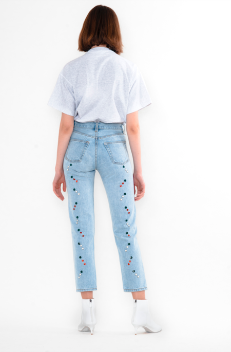 Still Here New York Holiday Tate Crop Jeans - Vintage Blue