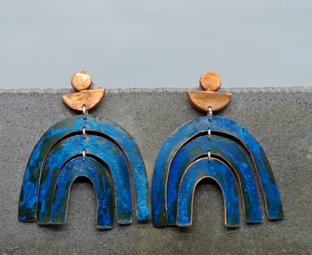 Sarah Sears Jewelry 3-TIERED ARCH EARRINGS - BLUE PATINA