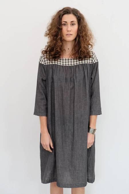 wrk-shp Arne Yoke Dress - Gray Gingham