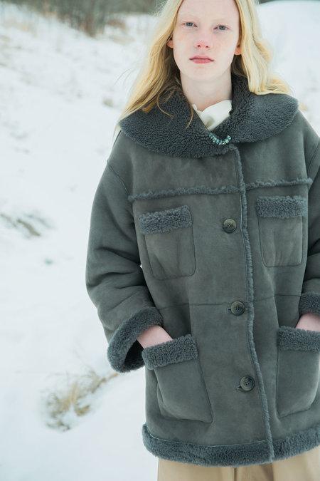 Urbanovitch Sheepskin Sailor Coat - Dove