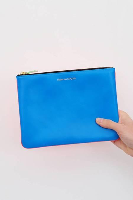 Comme des Garçons Super Fluo Large Zip Pouch - Orange/Blu