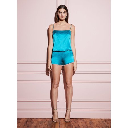 fleur du mal Lace Straight Neck Cami -  Lulu Green