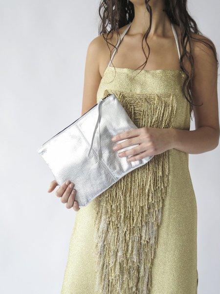 Erica Tanov Metallic Leather Zip Clutch - Silver