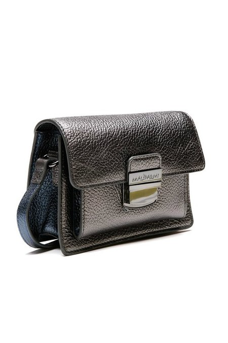 Maliparmi small leather metallic crossbody bag - GUNMETAL SILVER