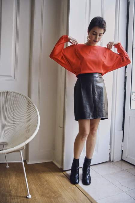 Bird On A Wire Vintage 90s Leather Mini Skirt - Chocolate
