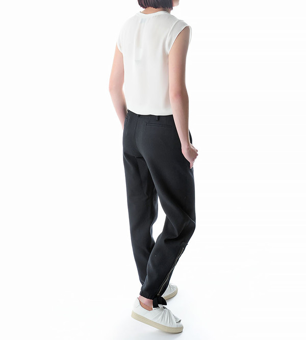 Ports 1961 Black Pinstripe Wide Trousers with Zip