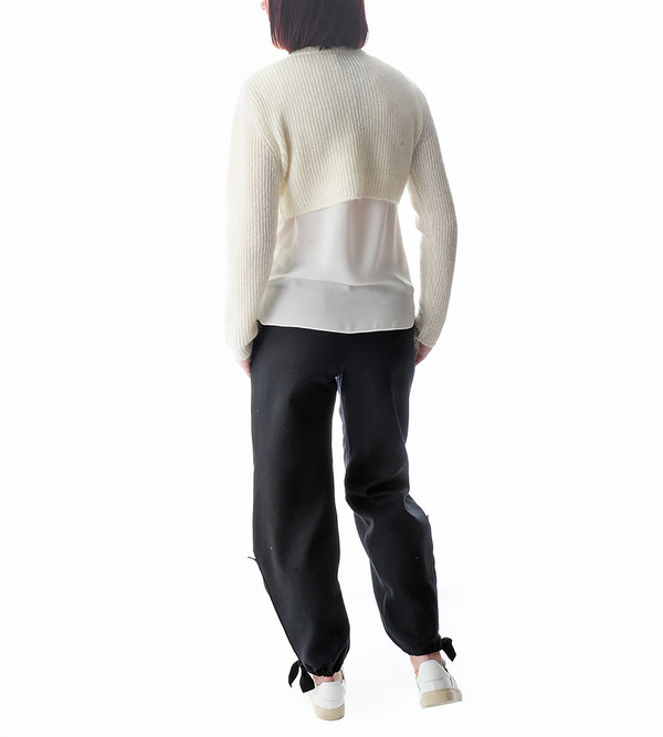 Public School Ivory Cropped Mohair Pullover