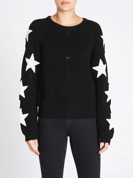 Zoe Karssen Boucle Star Patches Balloon Fit Pullover - black