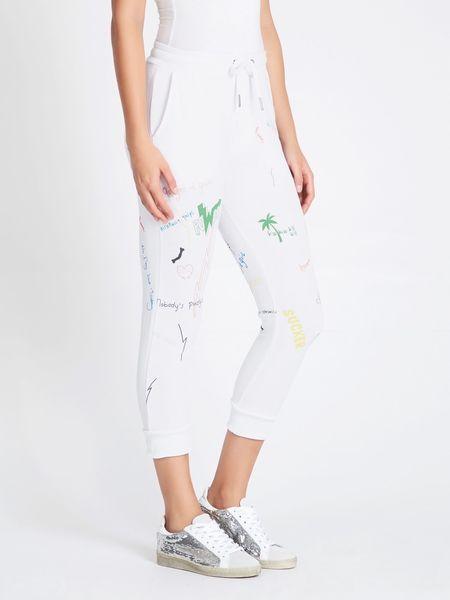 Zoe Karssen Scribble All Over Boyfriend Fit Sweatpants - white