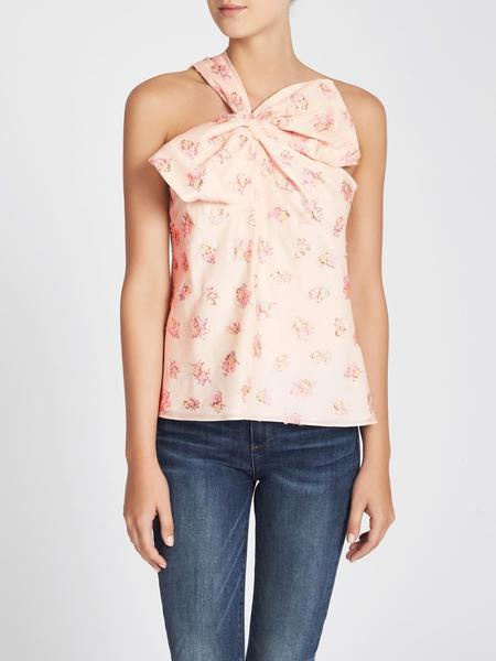 Rebecca Taylor Floral Jacquard Bow Top - Pinkish Cream