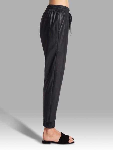 Rebecca Taylor Vegan Leather Track Pant - Black