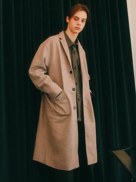 Unisex ANOUTFIT Single Wool Long Coat - Brown