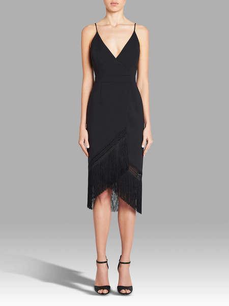 Nicholas The Label Fringe Crepe Wrap Cami Dress