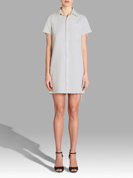 Mother Denim The Short Sleeve Frenchie Fray Dress - Dove White