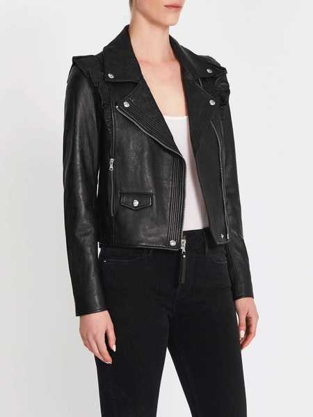 Paige Annika Leather Moto Jacket - Black