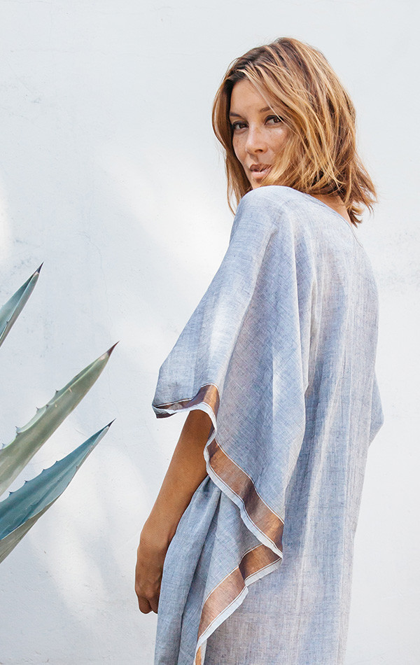 Two Grey Caftan with metallic border