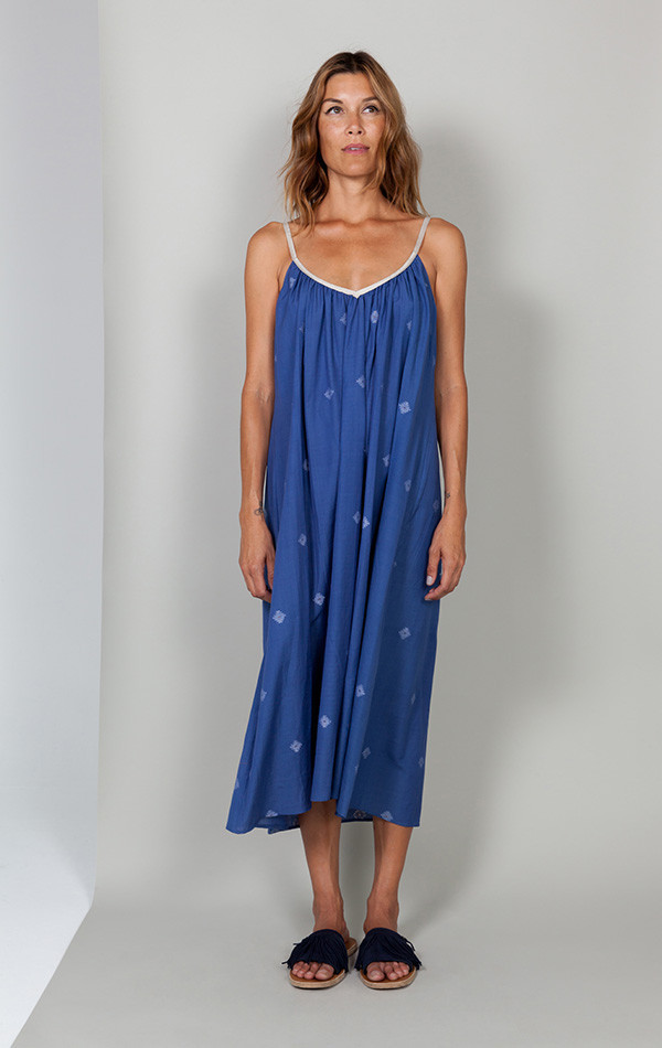Two Mediterranean Blue Khadi Dress
