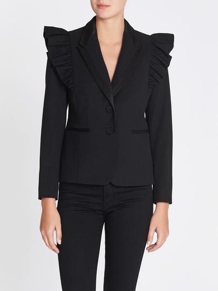 Rebecca Taylor Tuxedo Wool Ruffle Blazer - Black