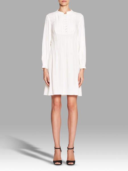 FRAME Denim Eyelet Pleated Dress - White
