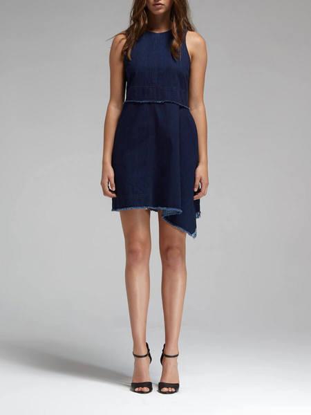 N / Nicholas Denim Flare Side Sleeveless Dress - Mid Blue