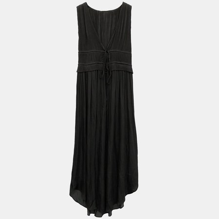 GRADE AND GATHER PLEATED DRESS - BLACK
