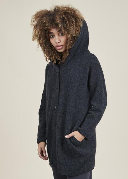 Evam Eva Hooded Cashmere Robe - Charcoal