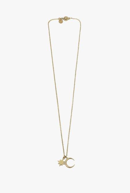 Ak Studio Moon & Star Necklace - Brass