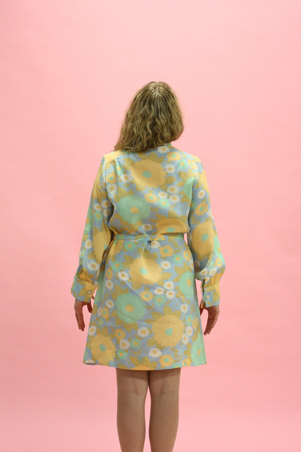 Steel Magnolias Vintage Pastel Psychedelic Floral Dress