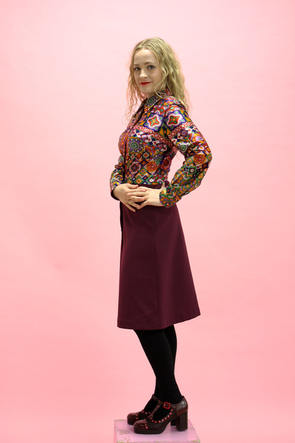 Steel Magnolias Vintage Psychedelic Purple Shirt Dress