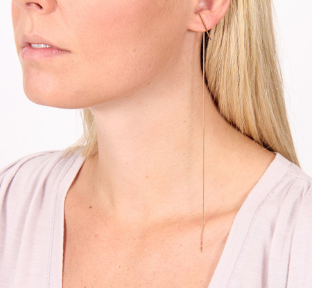 "Kathleen Whitaker 7"" STICK AND ITALIAN CURB CHAIN EARRING"