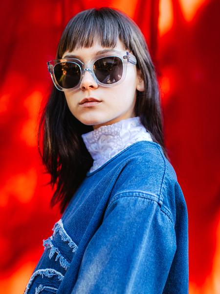 Chimi 008 Litchi Oversize Sunglasses - Clear/Black Lens