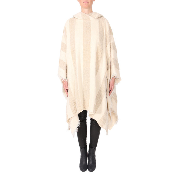 IRO AGNELA STRIPED HOODED PONCHO