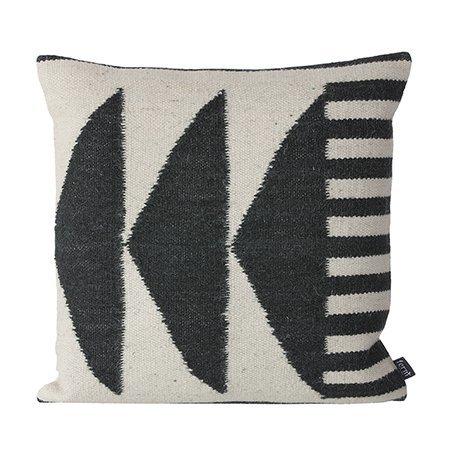 Ferm Living Kelim 'Black triangles' cushion