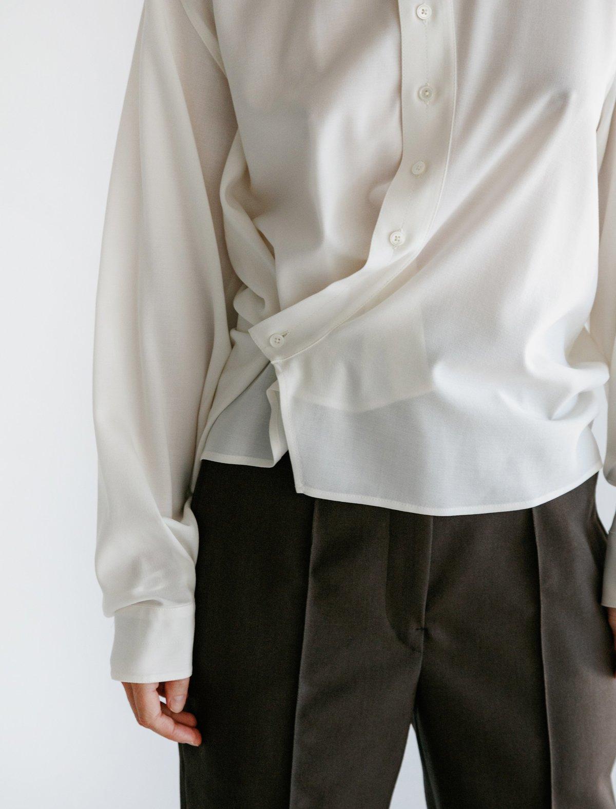 Lemaire High Collar Twisted Shirt Garmentory