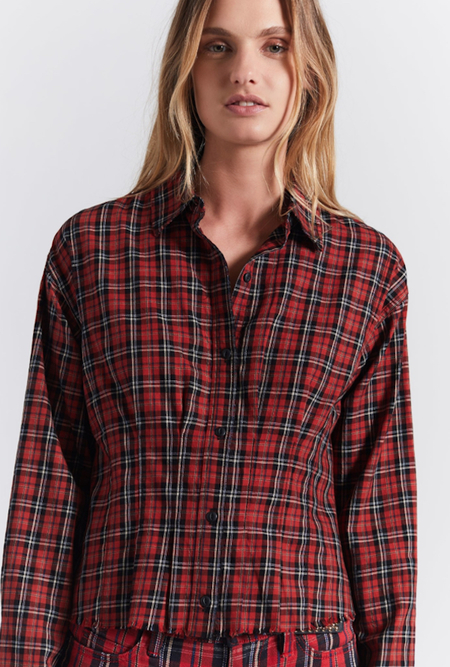 Current/ Elliott Tella Shirt - Red Tartan Plaid