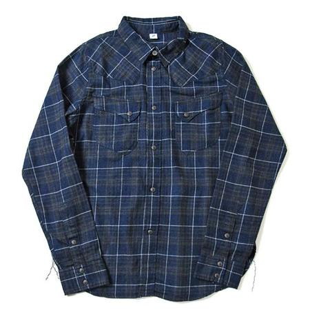 Pure Blue Japan Check Flannel Western Shirt - Navy Indigo