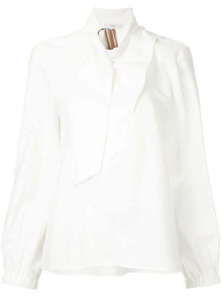 Tibi Viscose Twill Asymmetric Tie Collar Top - White
