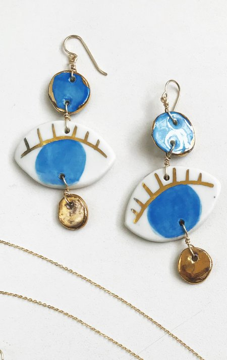 Ippolita Ferrari Handmade Ceramic Eye Earring - Blue/Gold