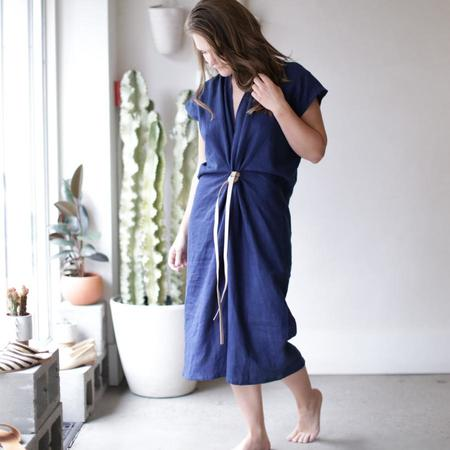 Miranda Bennett Knot Linen Dress - Indigo