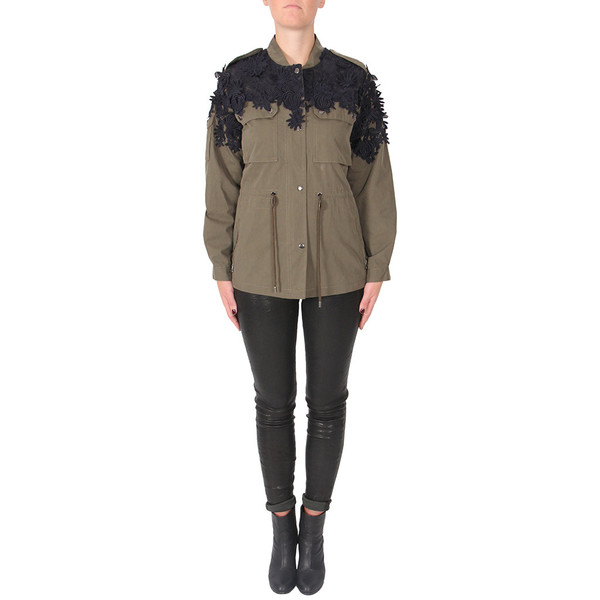Sea Embroidered Flowers Military Jacket