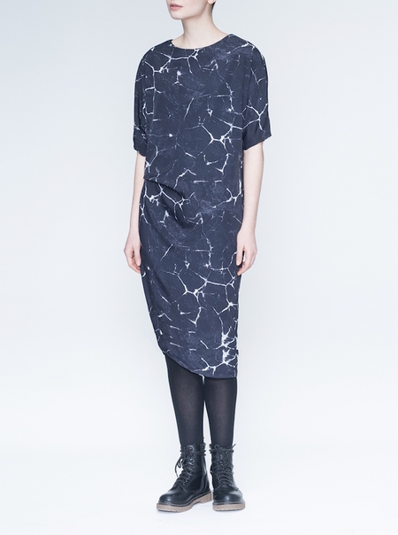 Valérie Dumaine Odessa Dress - Charcoal Cracked Print