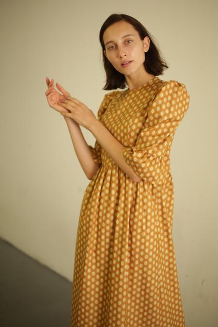 Batsheva Long Prairie Dress - Yellow Medallion
