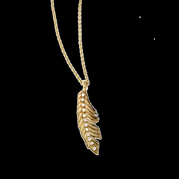 Manon Mini Pave Feather Pendant