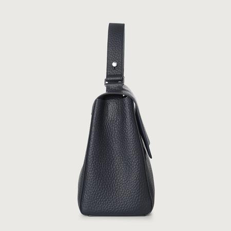 Orciani Sveva Medium Leather Shoulder Bag - Navy