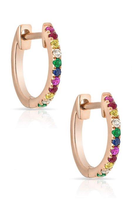 Shain Leyton 14K Gold Rainbow Sapphire Huggies Earrings