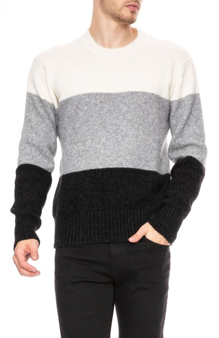AMI Alpaca Wool Mix Crew Sweater - Tricolor