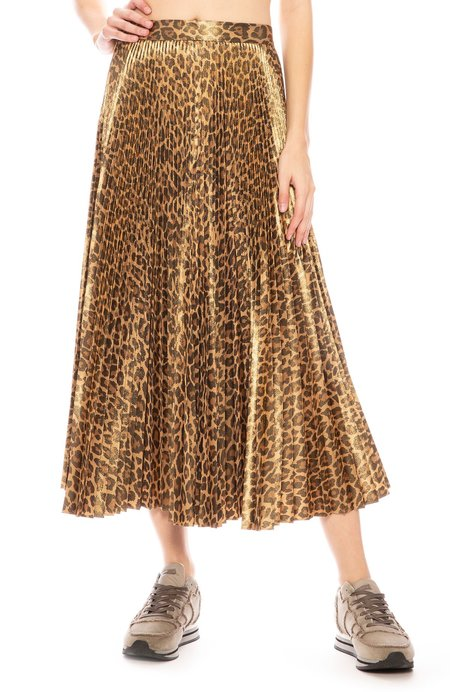 A.L.C. Bobby Metallic Pleated Skirt - Leopard