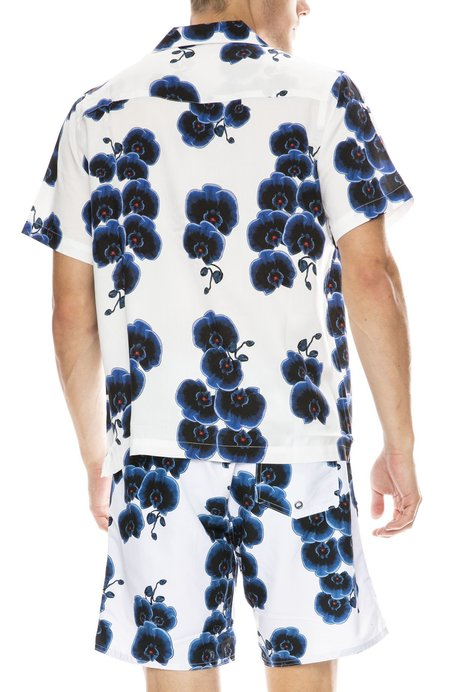 Saturdays Surf NYC Canty Orchid Button Down Shirt - WHITE