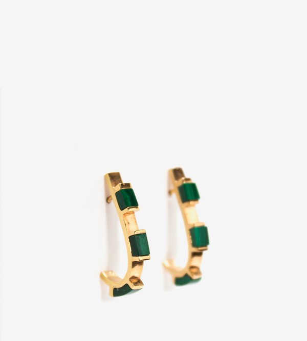 Luz Ortiz Cubik Malachite Earrings
